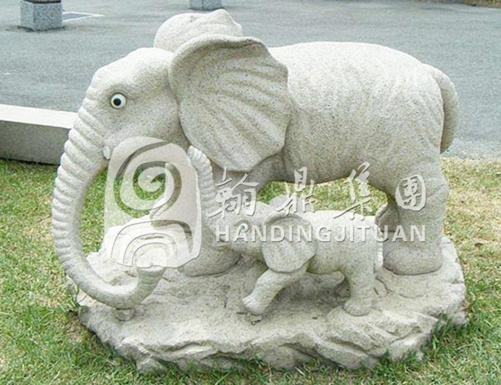 石雕母子象